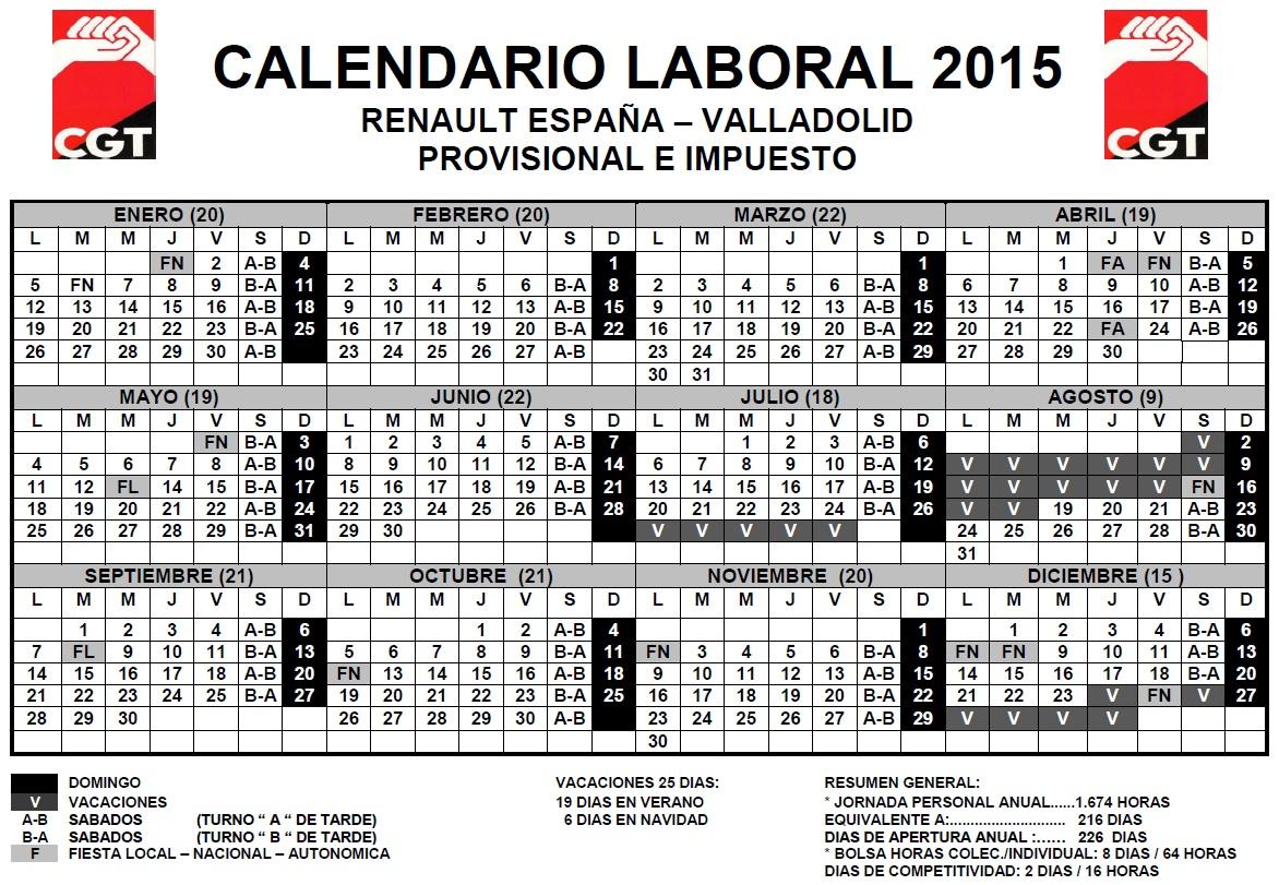 Calendario Laboral Valladolid.Calendarios Laborales 2015 Cgt Renault