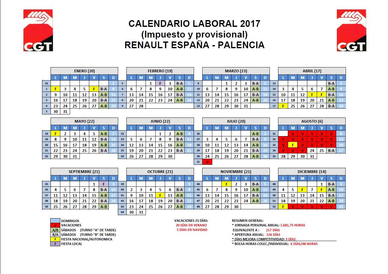 Calendario Laboral Valladolid.Calendario Laboral 2017 Cgt Renault