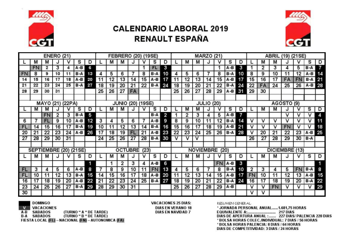 Calendario Laboral 2019 Valladolid Pdf.Calendario Laboral Cgt Renault